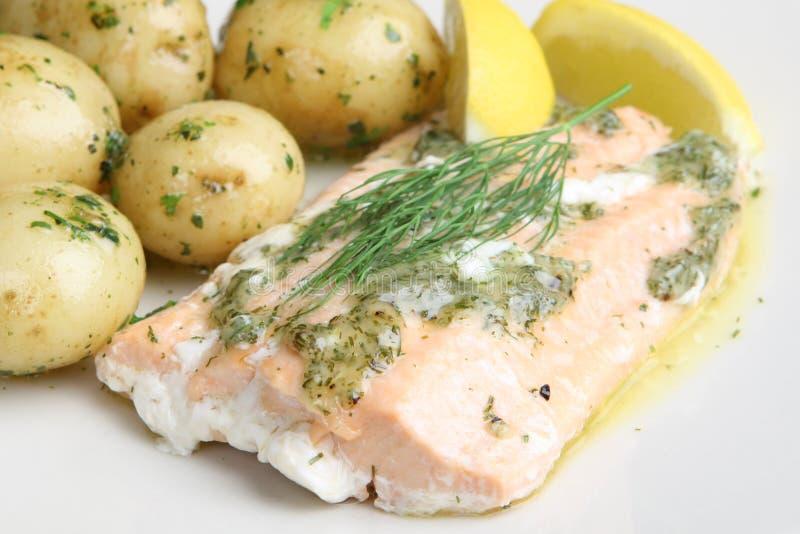 三文鱼被烘烤的嫩马铃薯 免版税图库摄影