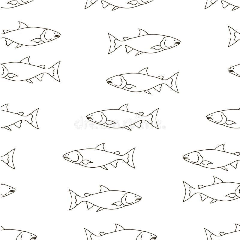 三文鱼鱼单色剪影无缝的样式 设计元素股票传染媒介 库存例证