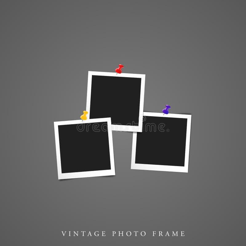 三旅行;e独特的空白的葡萄酒相框大模型 皇族释放例证