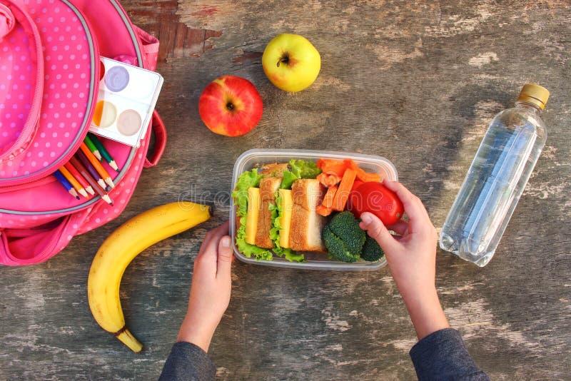 三明治、水果和蔬菜在食物箱子,背包 库存图片