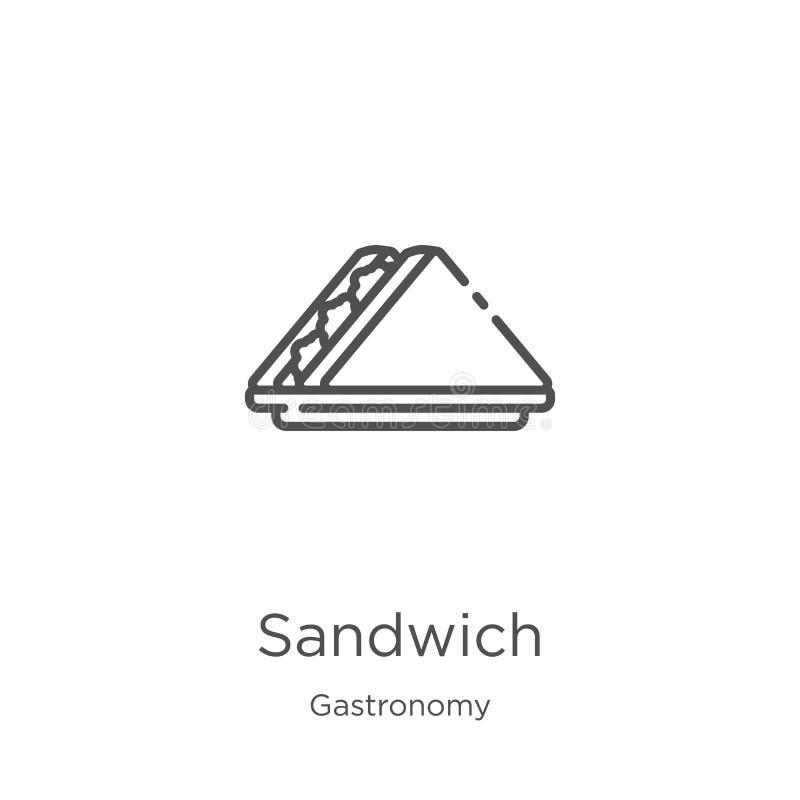 三明治从美食术汇集的象传染媒介 r 概述,稀薄的线三明治 向量例证