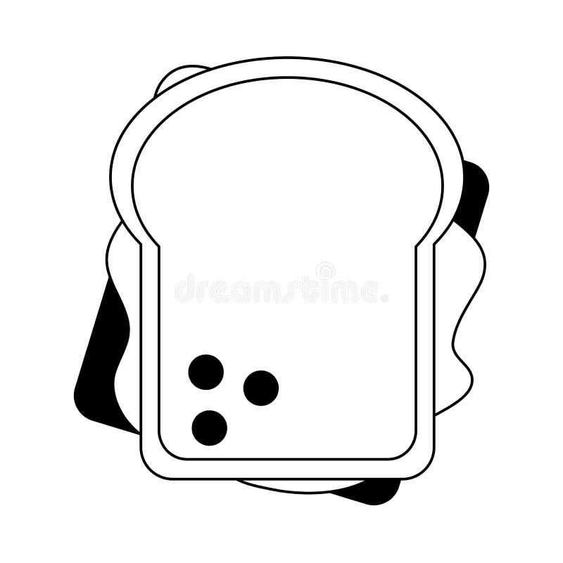 三明治健康食品黑白topview的标志 库存例证