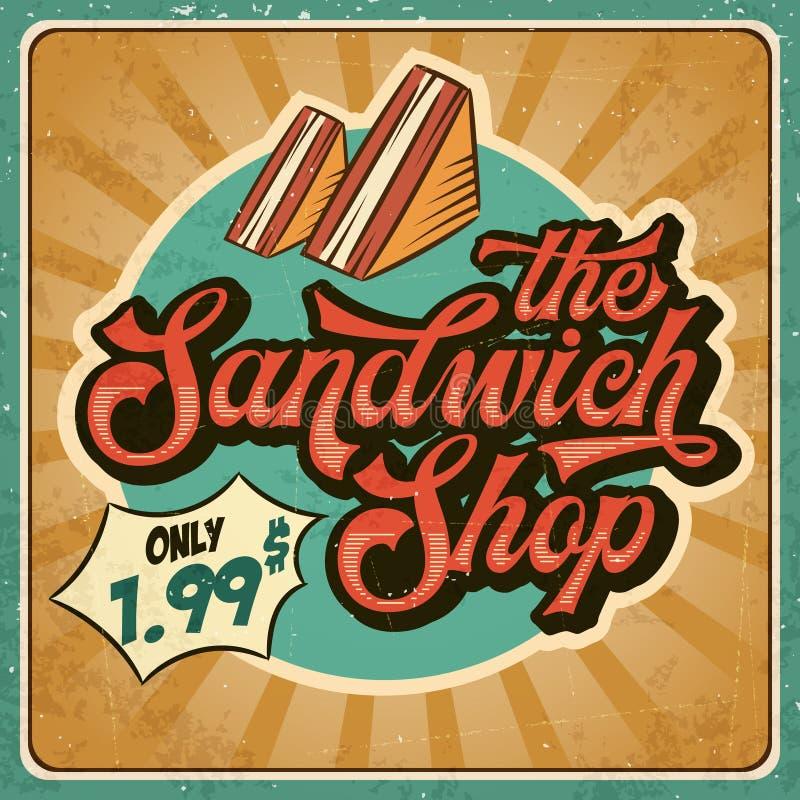 三明治商店的减速火箭的广告餐馆标志 葡萄酒pos 库存例证