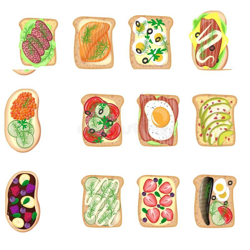 三明治早餐多士设置了面包切片敬酒的外壳三明治用黄油油煎的平的动画片三明治肉,鱼,鸡蛋 库存例证