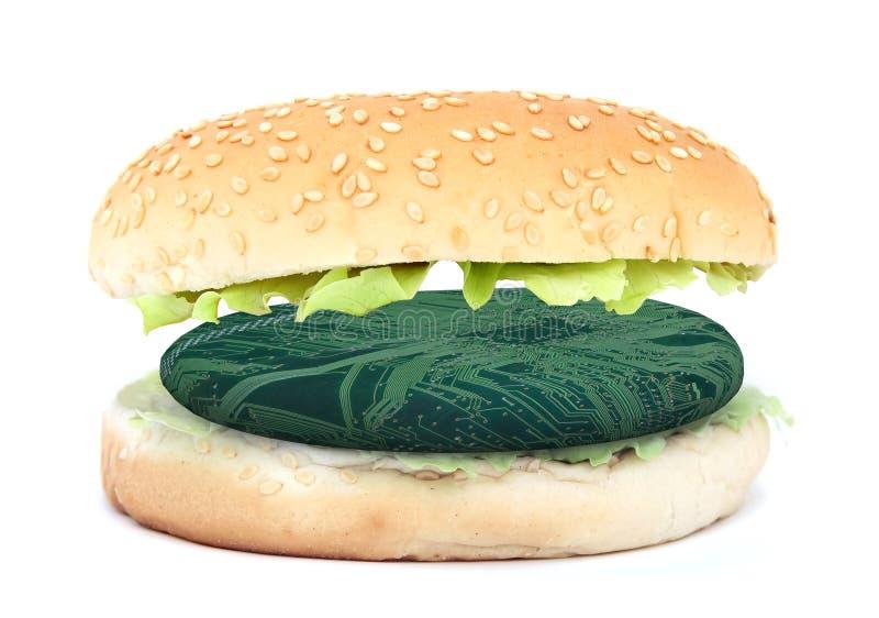 三明治用电子汉堡,综合性肉概念 皇族释放例证