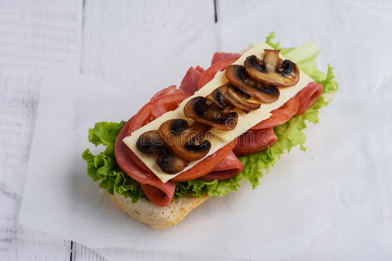 三明治用蕃茄乳酪和蘑菇蘑菇 库存照片