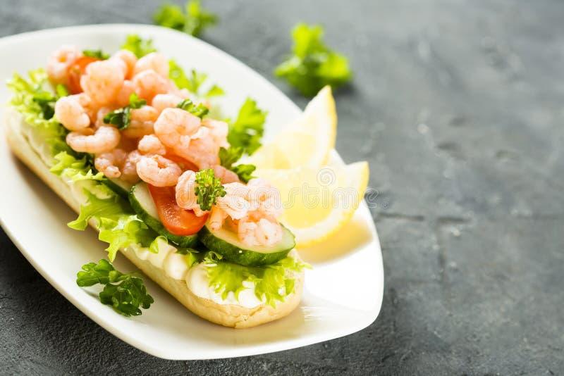 三明治用虾 库存图片