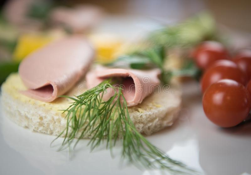 三明治用香肠 免版税库存图片