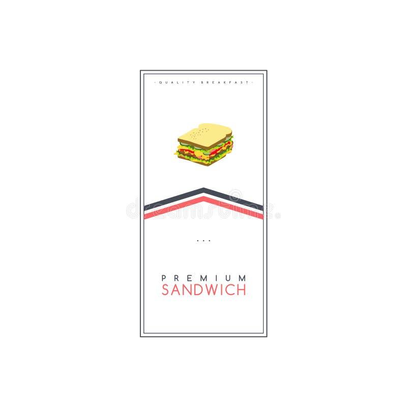 三明治食物和饮料题材飞行物小册子海报模板传染媒介 皇族释放例证