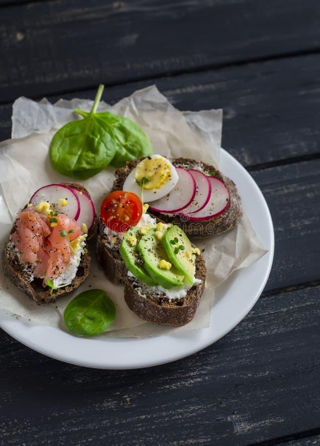 三明治-三明治的分类用乳酪、萝卜、黄瓜、鹌鹑蛋、鲕梨和熏制鲑鱼 免版税库存照片