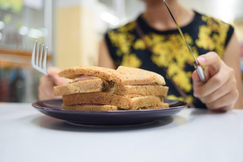 三明治和饥饿 库存图片