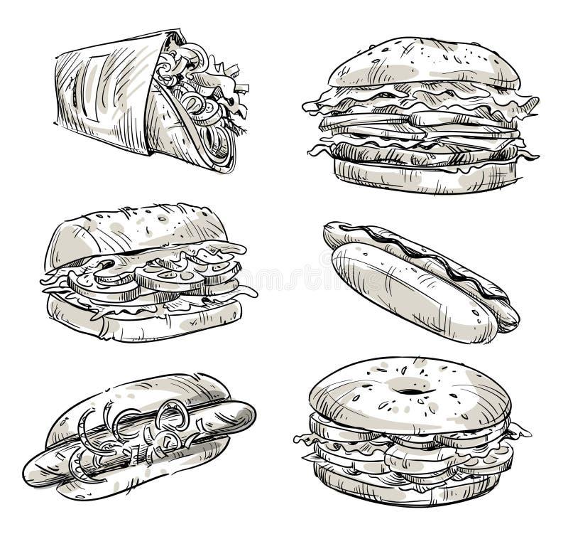 三明治 快餐 快餐 传染媒介剪影 向量例证