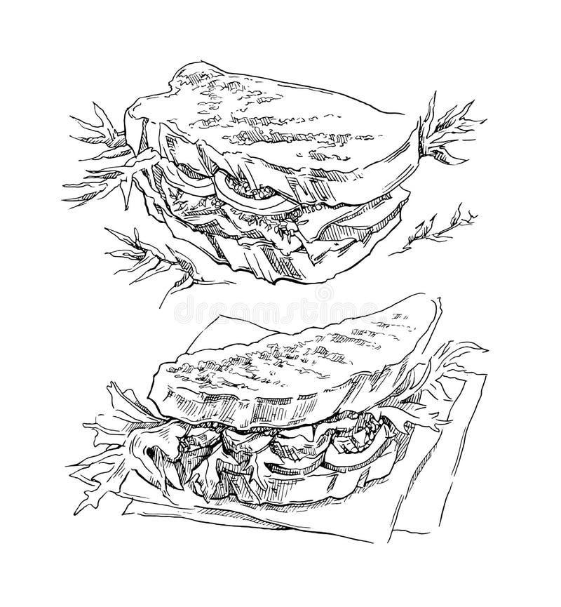 三明治手工制造传染媒介剪影  皇族释放例证