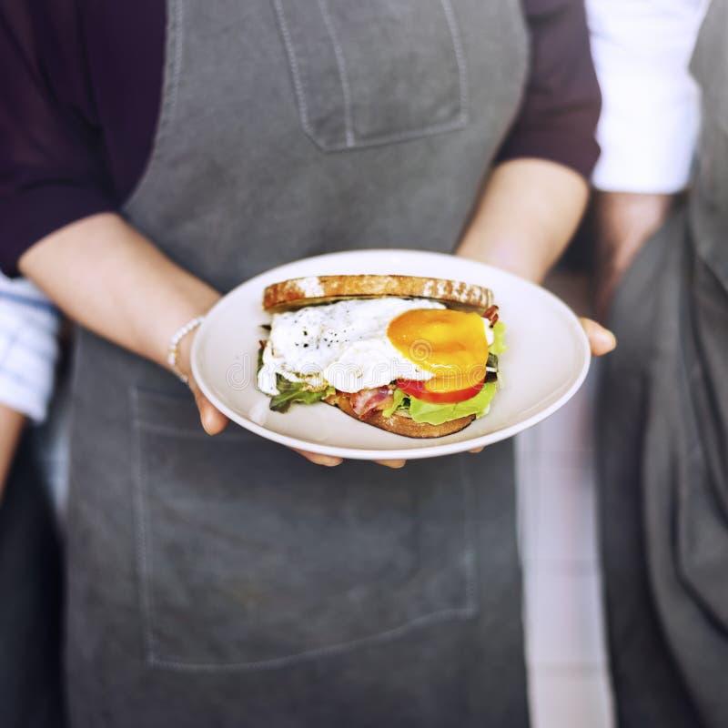 三明治早餐侍者服务服务概念 库存图片