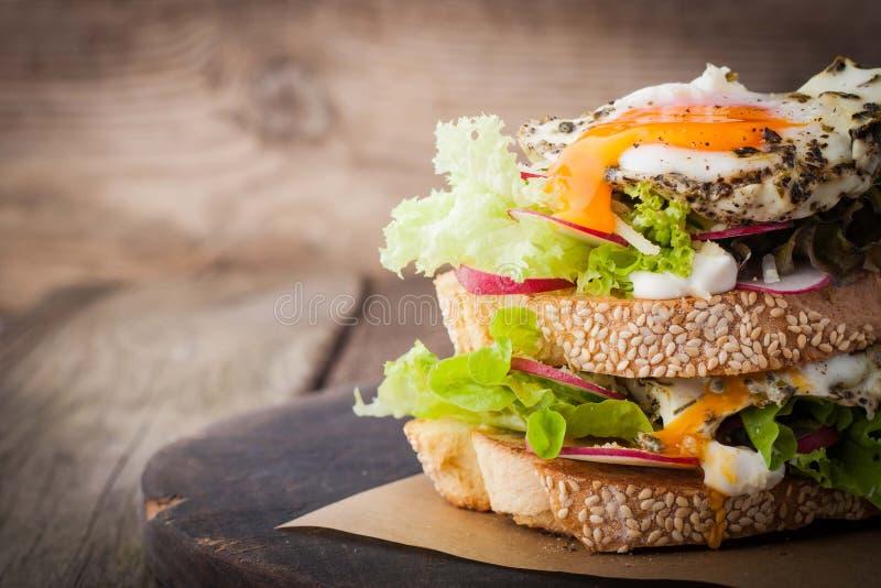 三明治用沙拉、水平的菜和的鸡蛋 库存照片