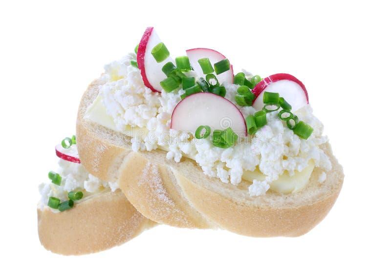 三明治用酸奶干酪和萝卜 库存图片