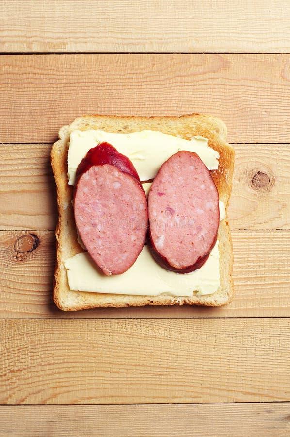 三明治用香肠 免版税库存照片