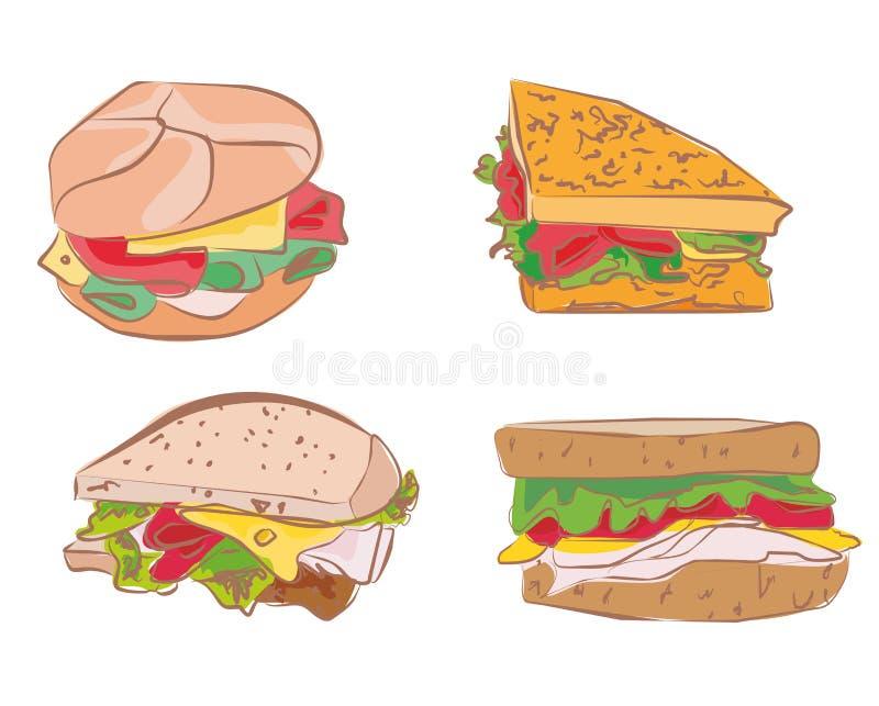 三明治的汇集 库存例证