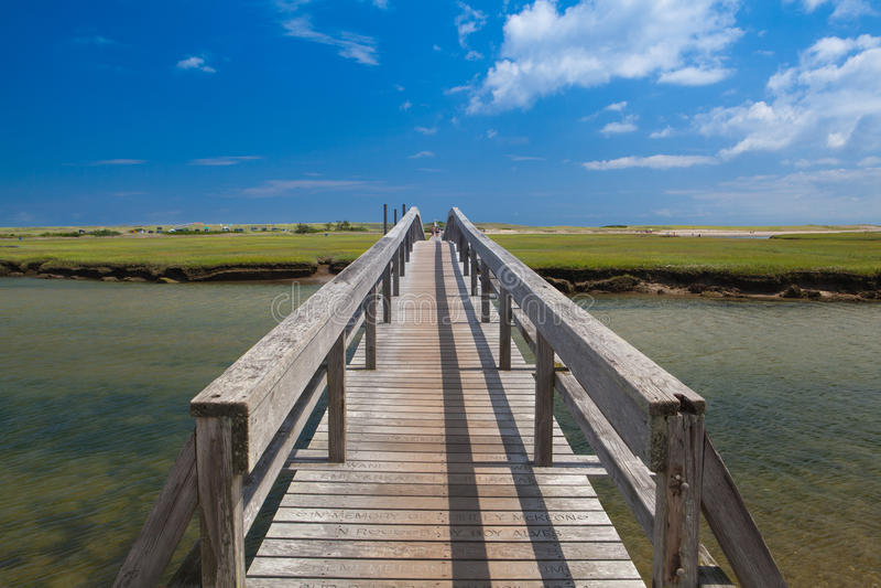 三明治的,马萨诸塞,美国著名镇脖子海滩木板走道 库存照片