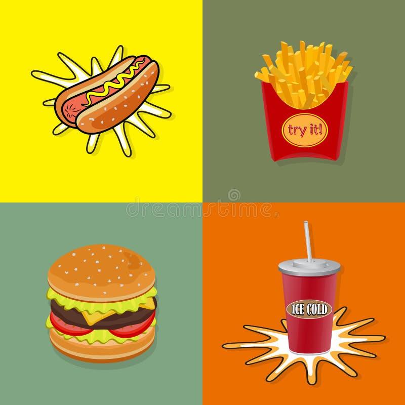 三明治集合文本没有使用的艺术品泡影狗编辑可能的快餐梯度汉堡包热层 向量 皇族释放例证