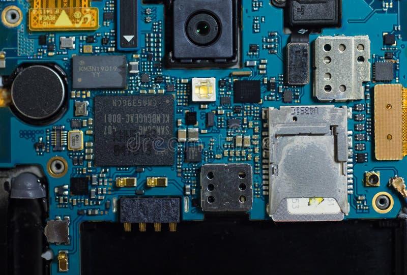 三星手机的电子零件 库存图片