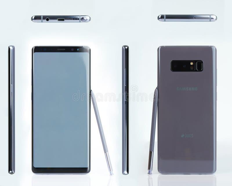 三星注意8与笔智能手机 免版税库存照片