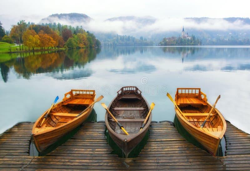 三条小船在Bled湖停泊了有雾的秋天天 库存照片