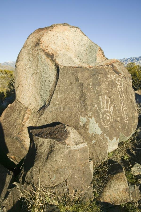 三条河刻在岩石上的文字全国站点, a (BLM)局土地管理站点,特点超过21,000当地美洲印第安人pe 免版税库存照片