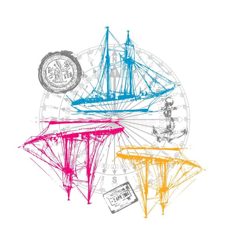 三条风船样式,T恤杉图表 向量例证