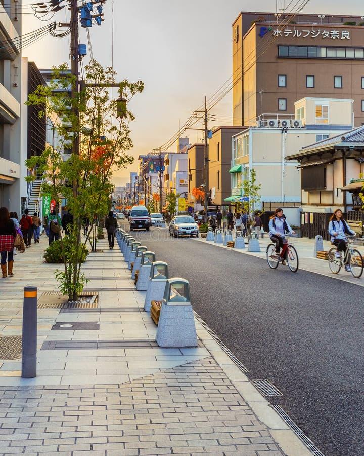 三条Dori街在奈良 库存照片