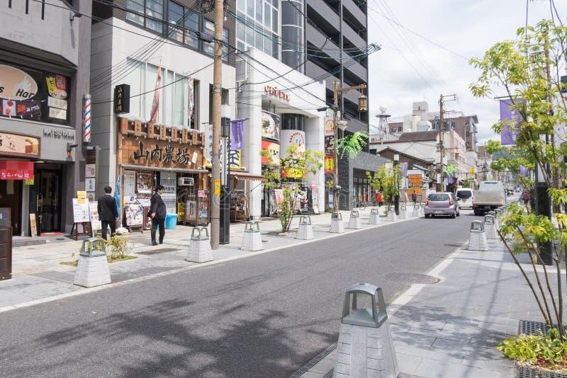 三条Dori购物街道在奈良,日本 库存照片