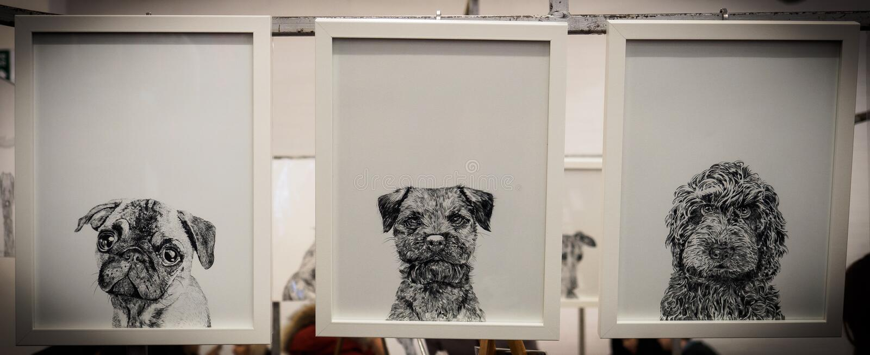 三构筑了小狗黑白图画  库存图片