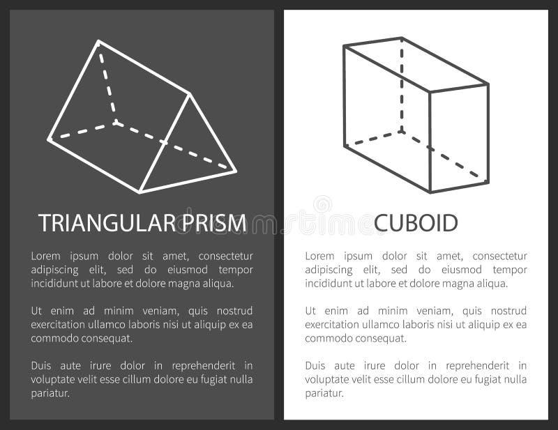 三棱柱长方体几何形状形象 向量例证
