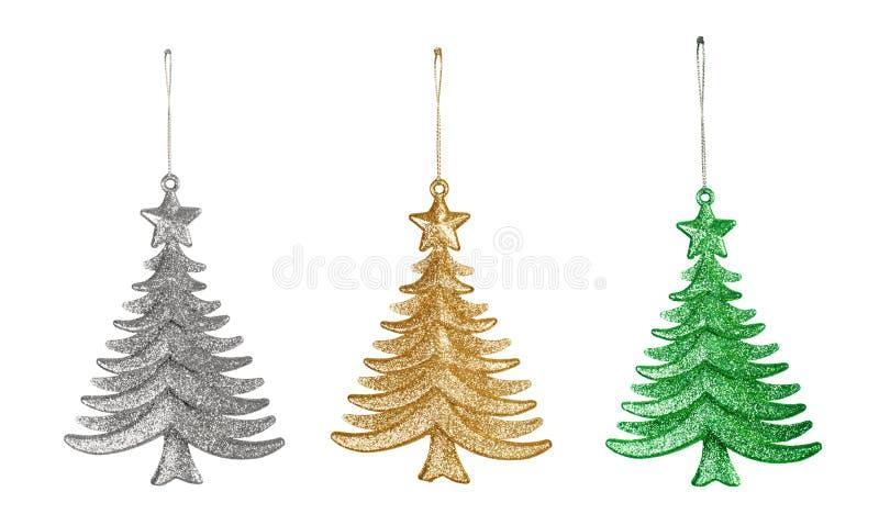三棵圣诞节玩具树 免版税库存图片