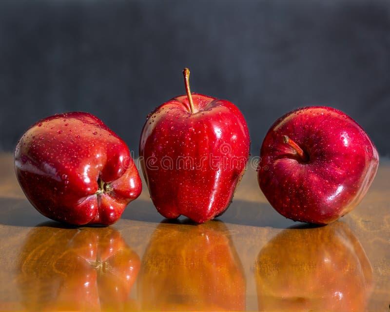 三棵红色美味苹果 免版税库存照片