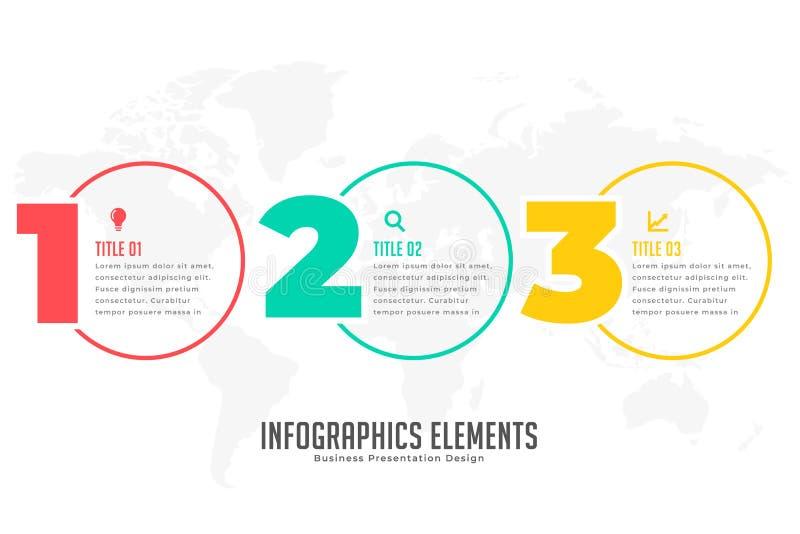 三步现代infographic横幅 向量例证