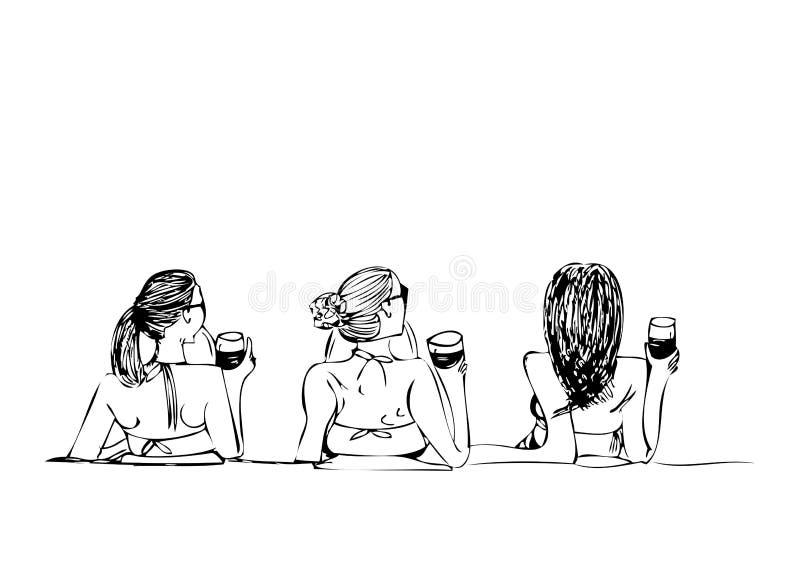 三海滩的女孩在白色背景 免版税图库摄影