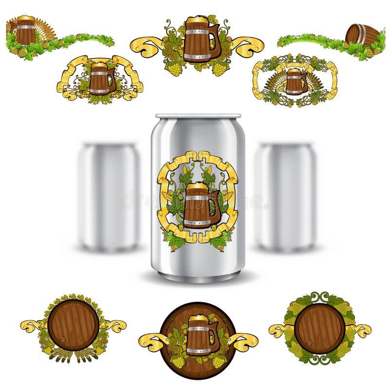 三现实嘲笑能啤酒和设置在白色背景的豪华标签 传染媒介例证一能锐利和两个罐头d 向量例证