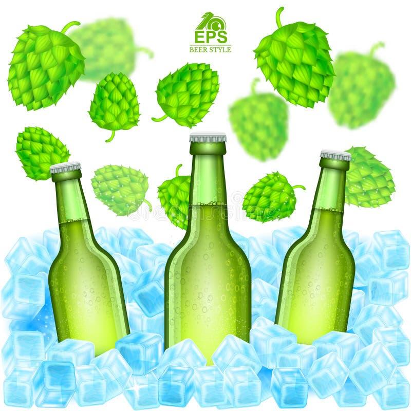 三现实绿色瓶在冰块的啤酒立场在飞行景深在白色的啤酒花球果树中 皇族释放例证