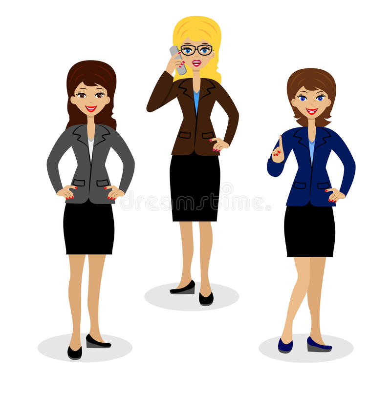 三白色背景的成功的女商人 库存例证