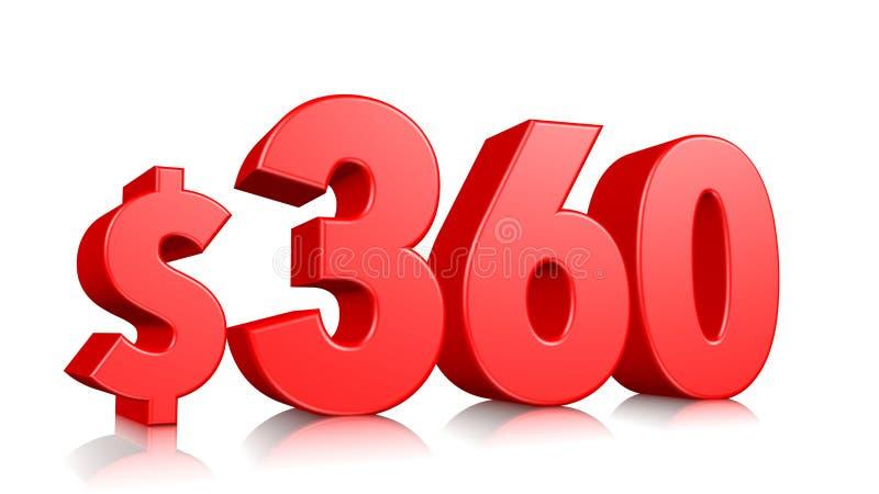 360$三百六十个价格标志 红色文本数字3d回报与在白色背景的美元的符号 库存例证