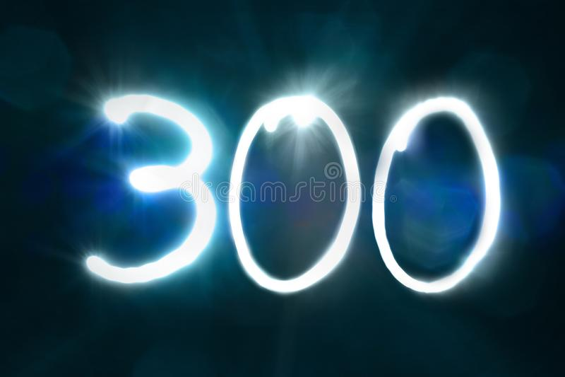 三百轻的闪闪发光亮光数字周年年 库存照片