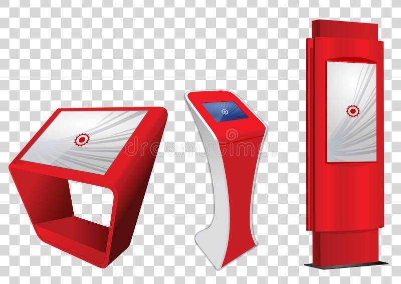 三红色增进交互式信息问讯处,给显示做广告,终端立场,触摸屏显示 皇族释放例证