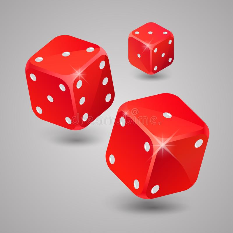 三红色比赛切成小方块 赌博的赌博娱乐场 向量例证