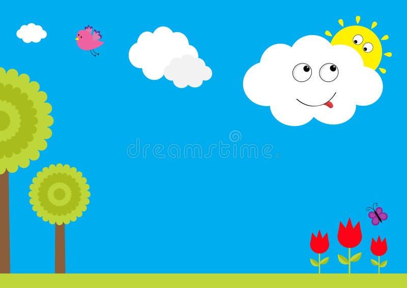 三红色郁金香花设置了与叶子和飞行蝴蝶昆虫 树植物,飞鸟,与太阳的微笑的云彩 花卉植物de 皇族释放例证