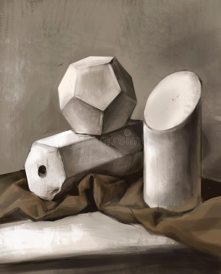 三维几何形状的例证 库存例证