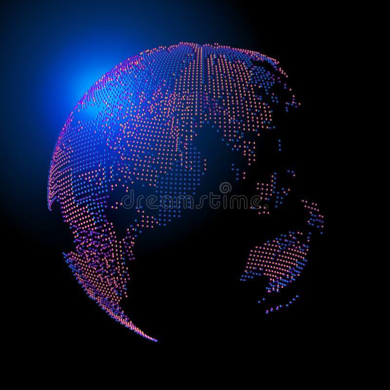 三维抽象颜色地球组成由地球,代表全球性和国际意义 库存例证