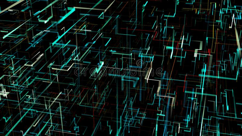 三维数字式人工神经网络 向量例证