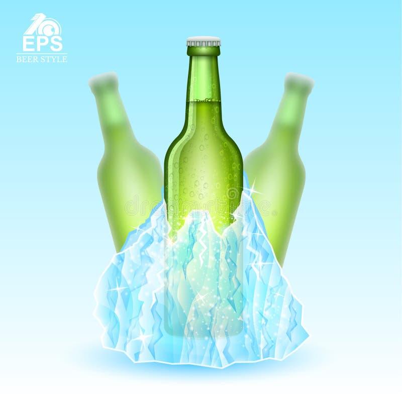 三绿色瓶的现实嘲笑冻在冰山的啤酒在蓝色背景 向量例证