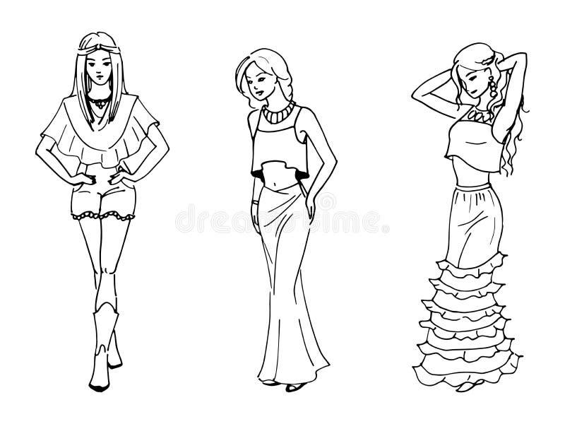 三美丽的时尚女孩的传染媒介例证 向量例证